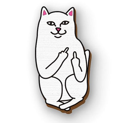 Quirky cat middle finger hand painted wooden lapel pin