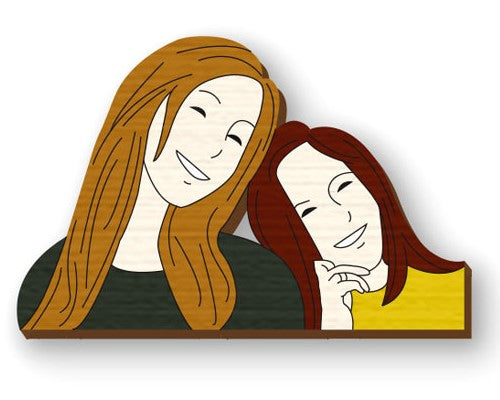 two girls custom hand painted wooden lapel pin