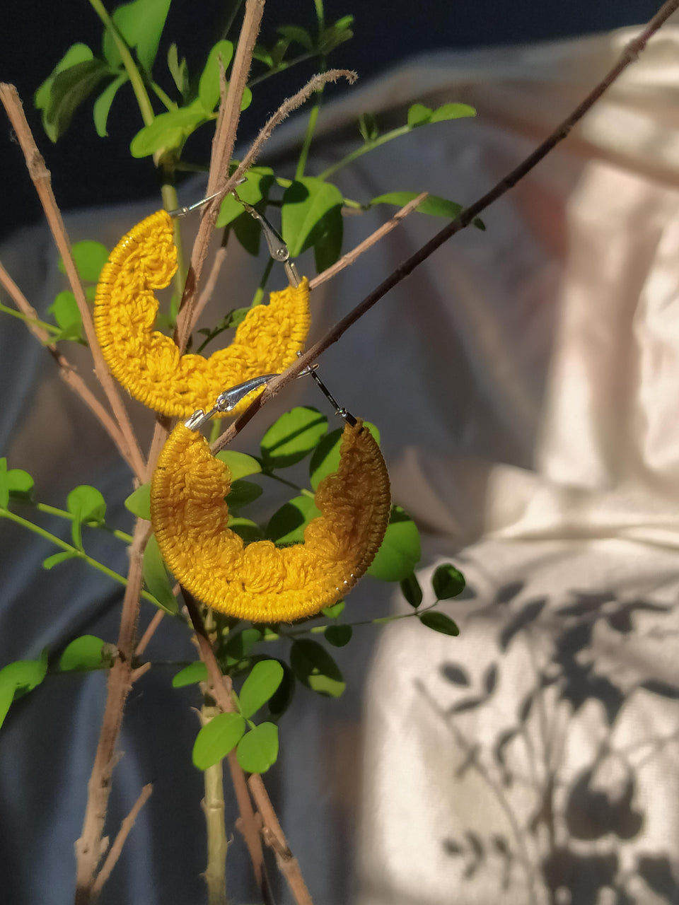 Yellow Crochet Baby hoops