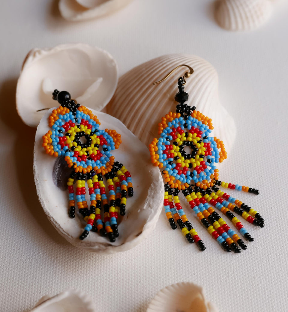 Multi-color Beadwork Earrings 5