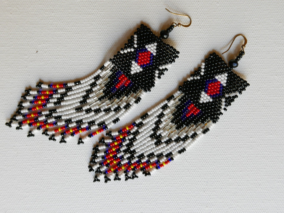 Multi-color Beadwork Earrings