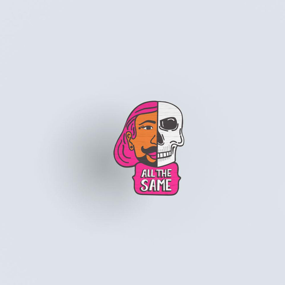 All the same 01 hand painted wooden lapel pin