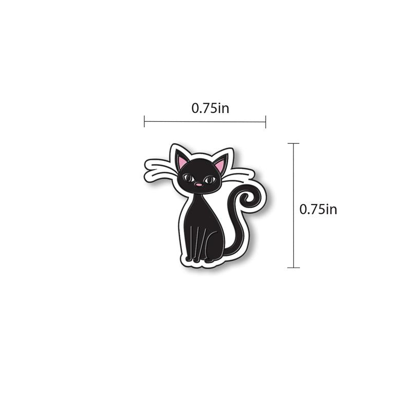 Black Cat Enamel - hand painted pin