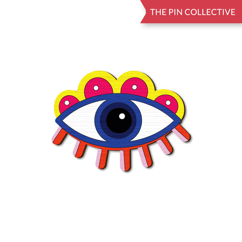 Eye Eye - hand painted pin