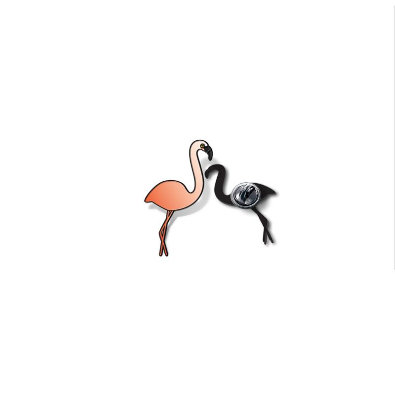 Flamingo Enamel - hand painted pin