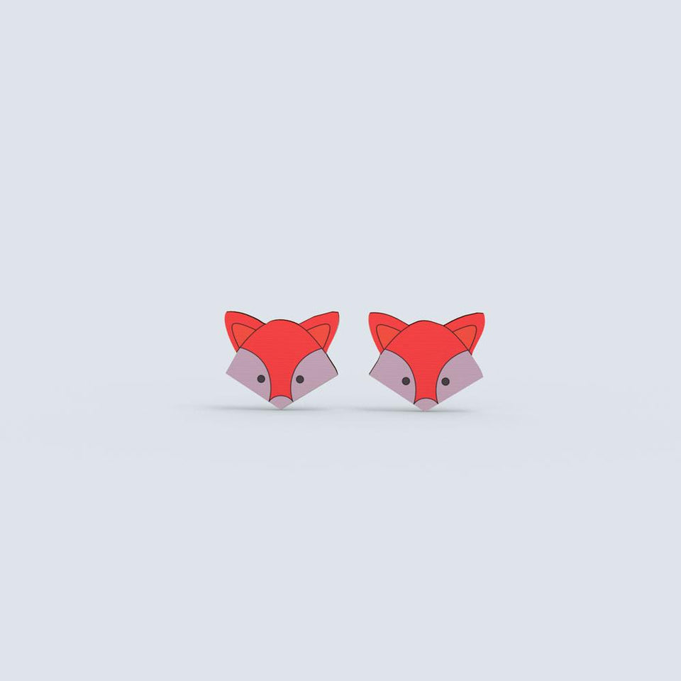 Foxy Earrings - hand painted pin