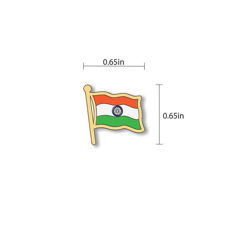 India Flag - hand painted pin