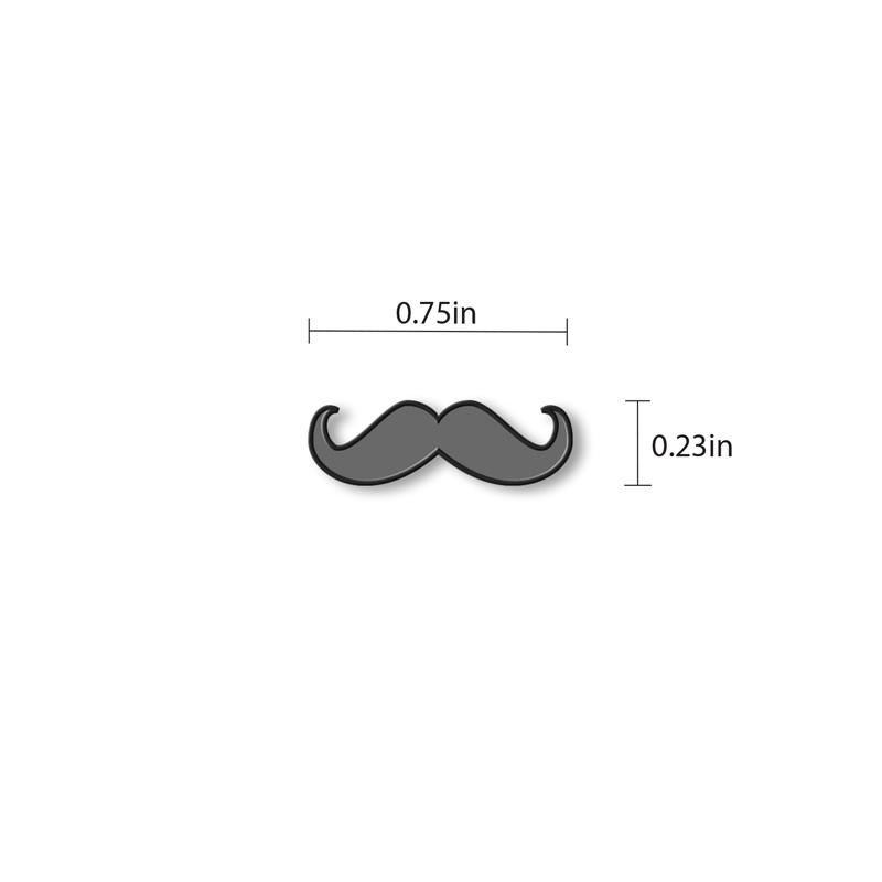 Moustache Enamel - hand painted pin