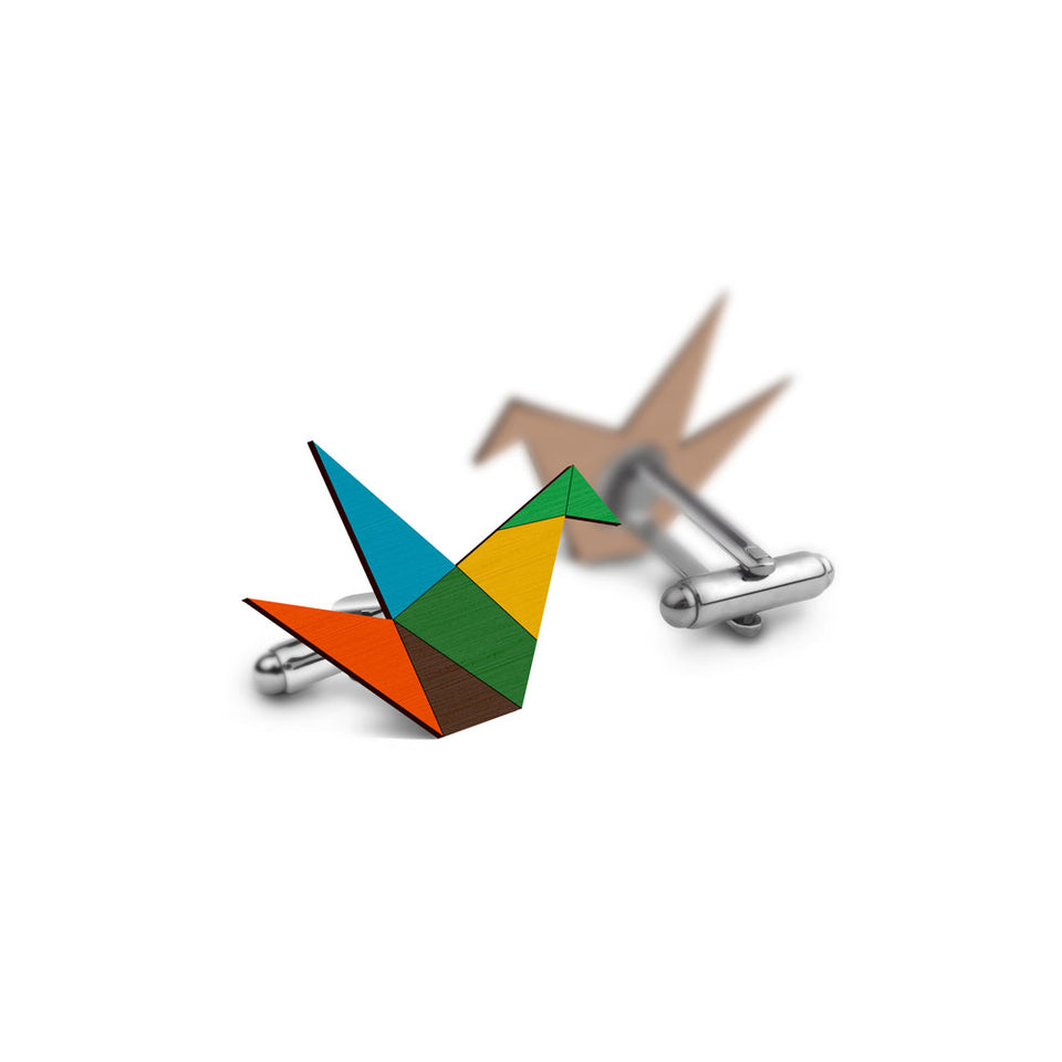 Origami Cufflinks - hand painted pin