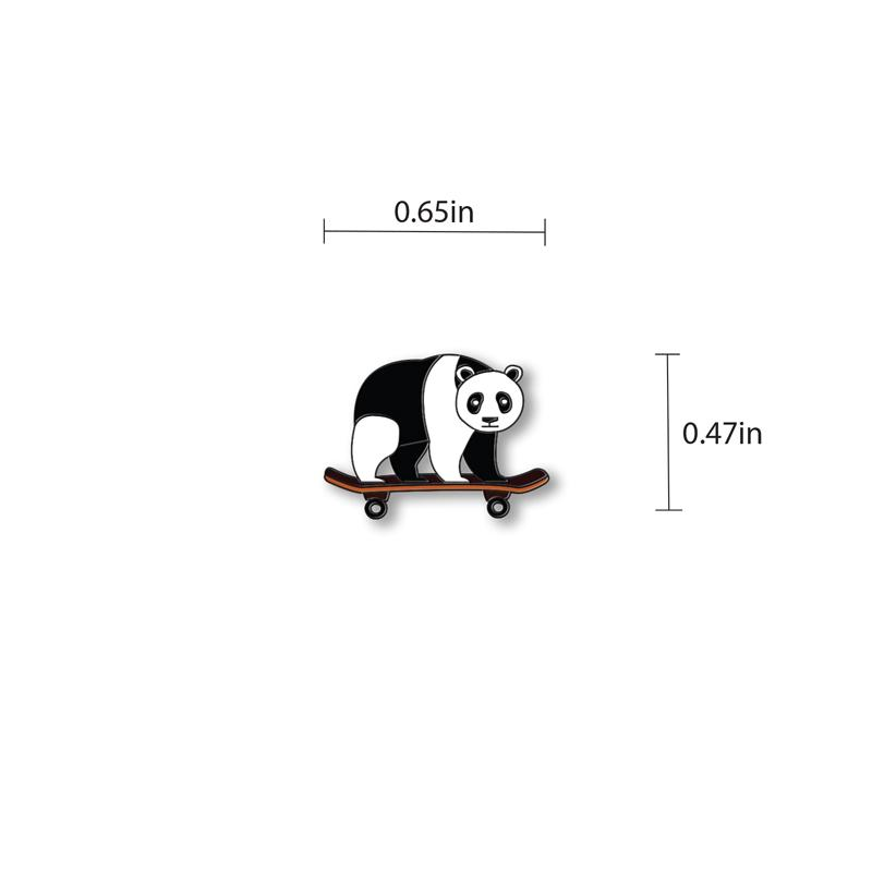 Panda on Skateboard Enamel - hand painted pin