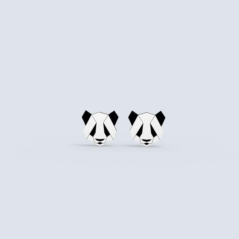 Panda Earrings - hand painted pin
