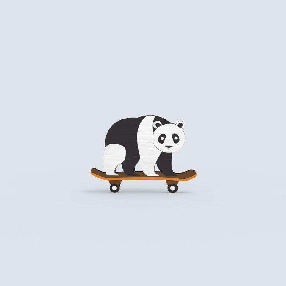 Panda on Skateboard - hand painted pin