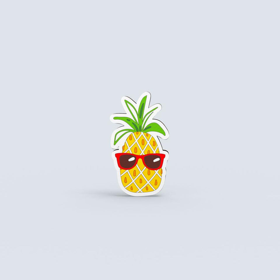 Pineapple with glasses - hand painted pin