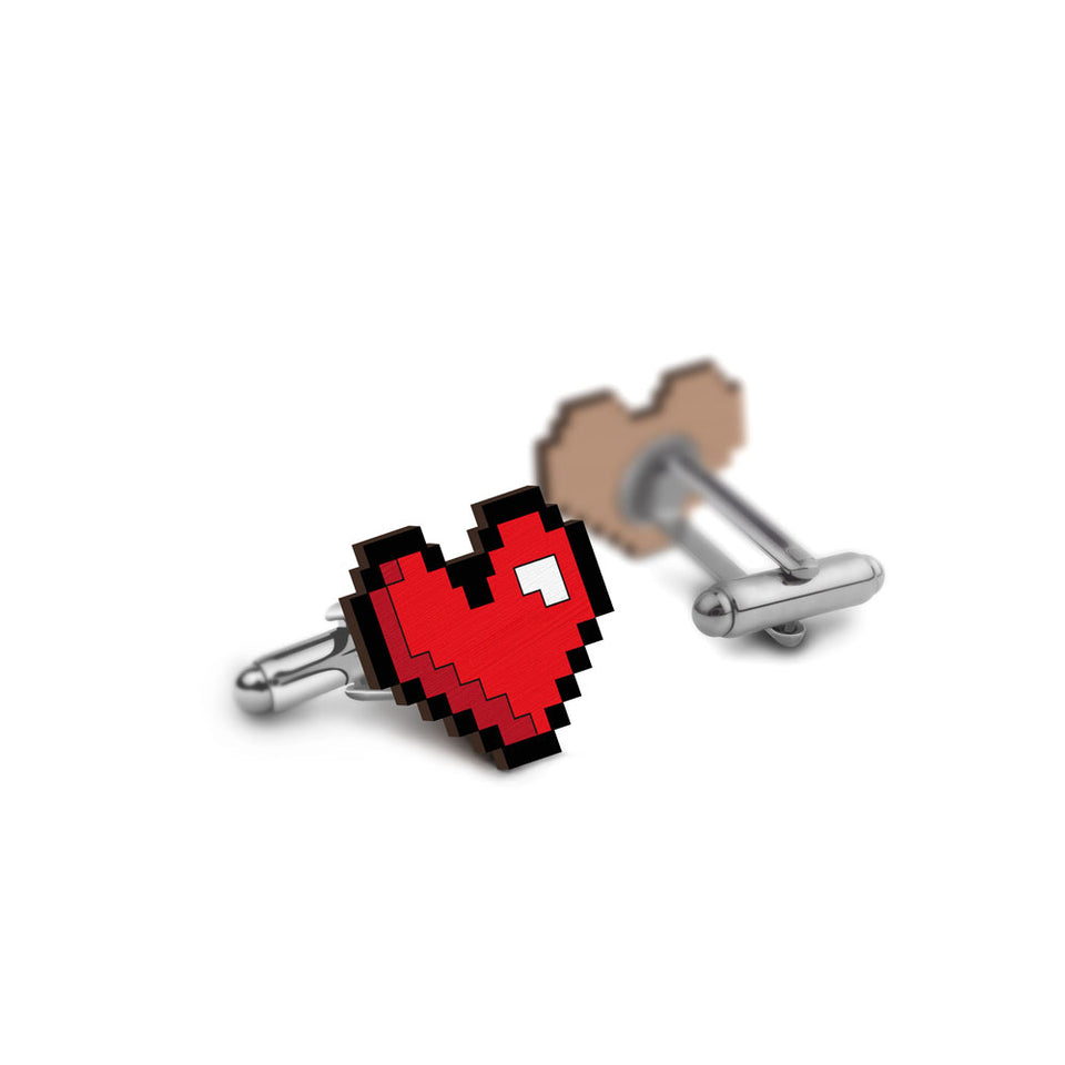 Pixelated Heart Cufflinks - hand painted pin