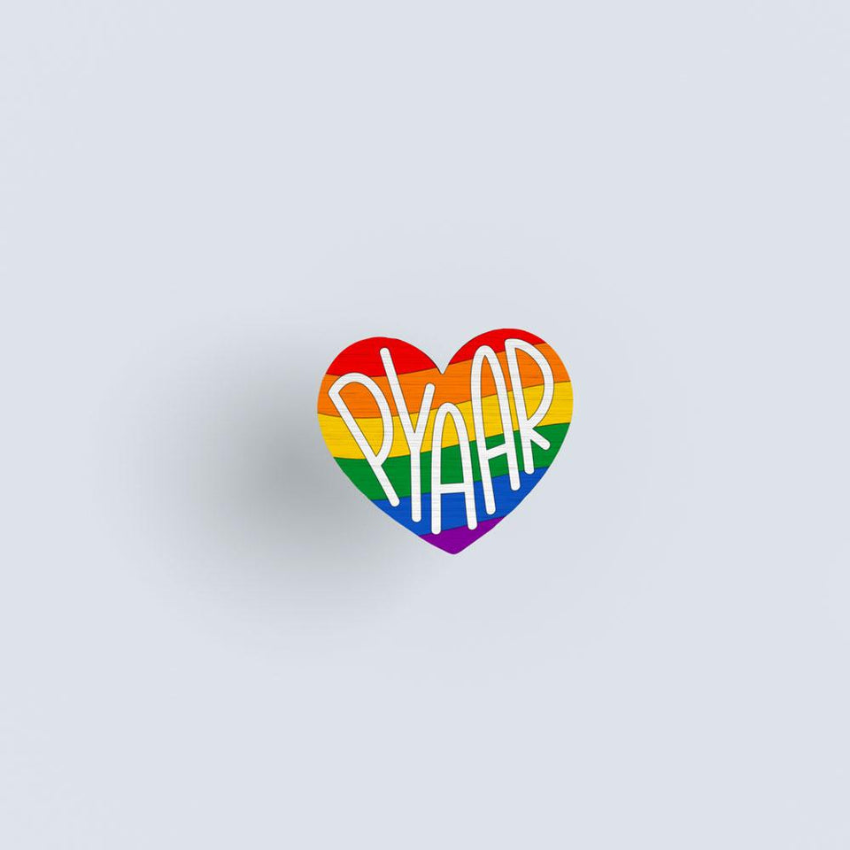 Pride Pyaar - hand painted pin