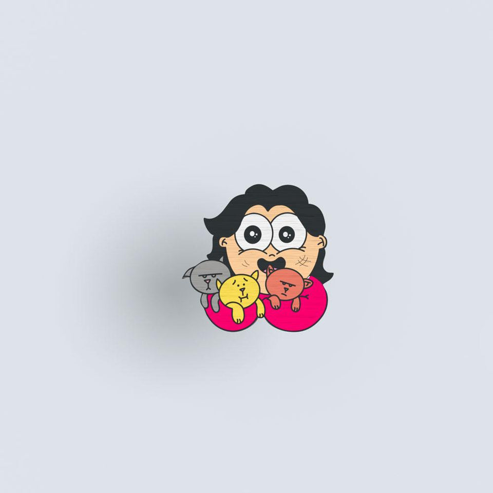 Puppy Girl - hand painted pin