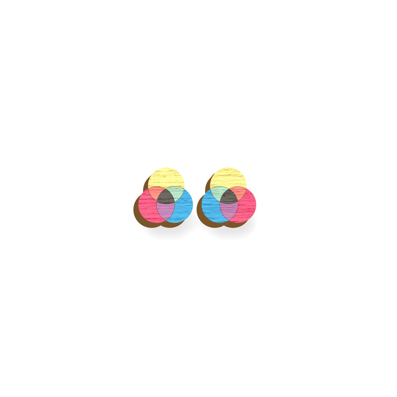 RGB Earrings - hand painted pin