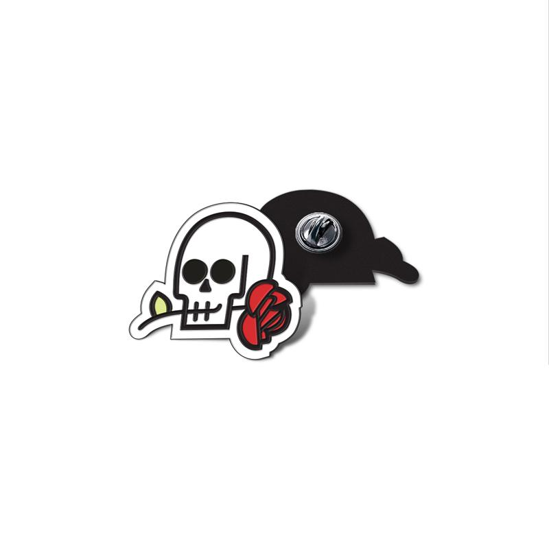 Skull & Rose Enamel Lapel Pin