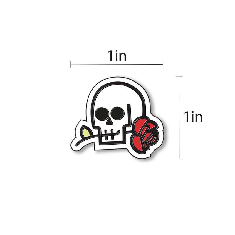 Skull & Rose Enamel - hand painted pin