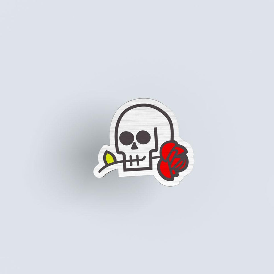Skull & rose - hand painted pin