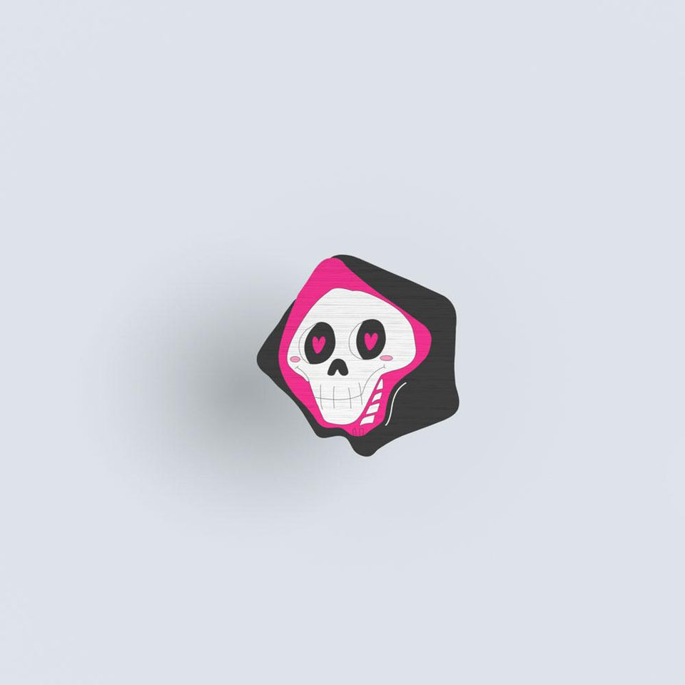 Skully - hand painted pin