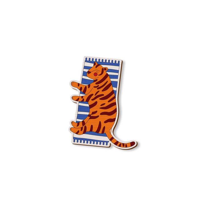 Sleeping Tiger - hand painted pin