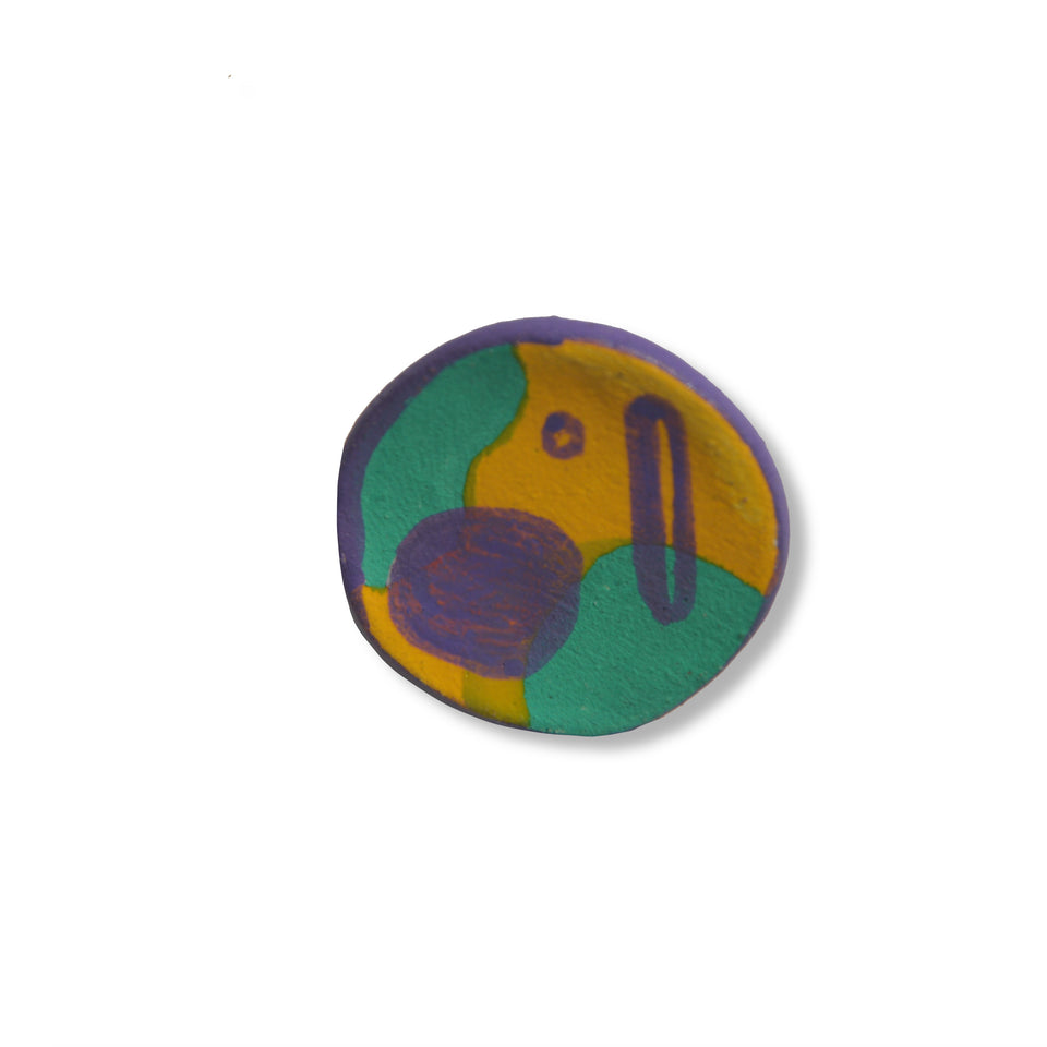 Stoneware Pin Purple - Small