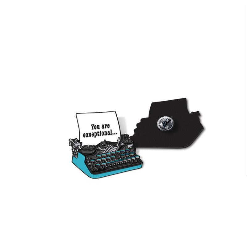 Typewriter Enamel - hand painted pin