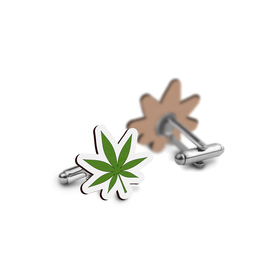 Weed Cufflinks - hand painted pin