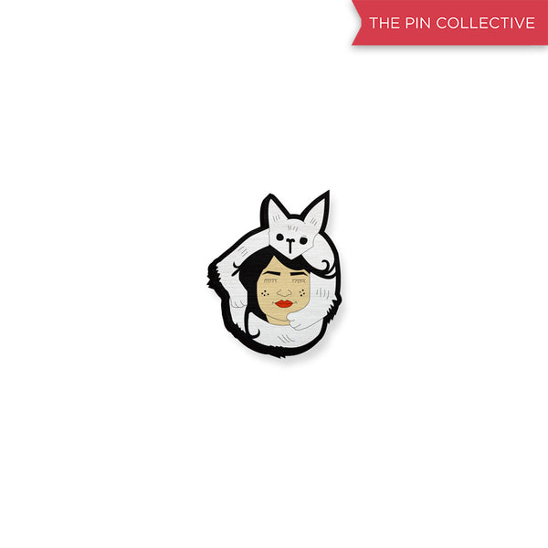 Cat Person - hand painted pin