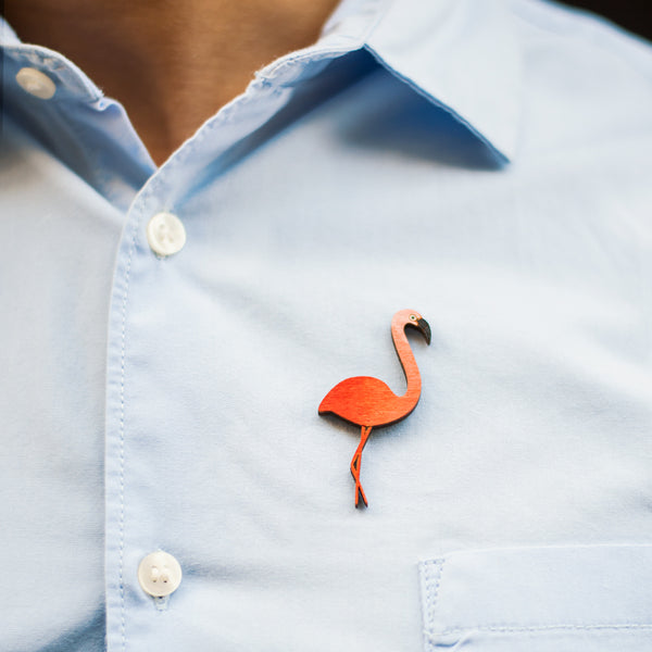 Flamingo Bird - hand painted pin