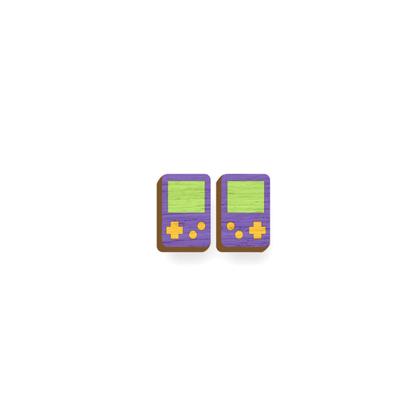 Gameboy - Hand Painted Wooden Earrings Say it with a pin