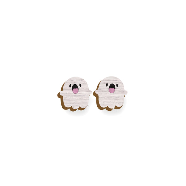 Cute Ghost - Hand Painted Wooden Earrings Say it with a pin