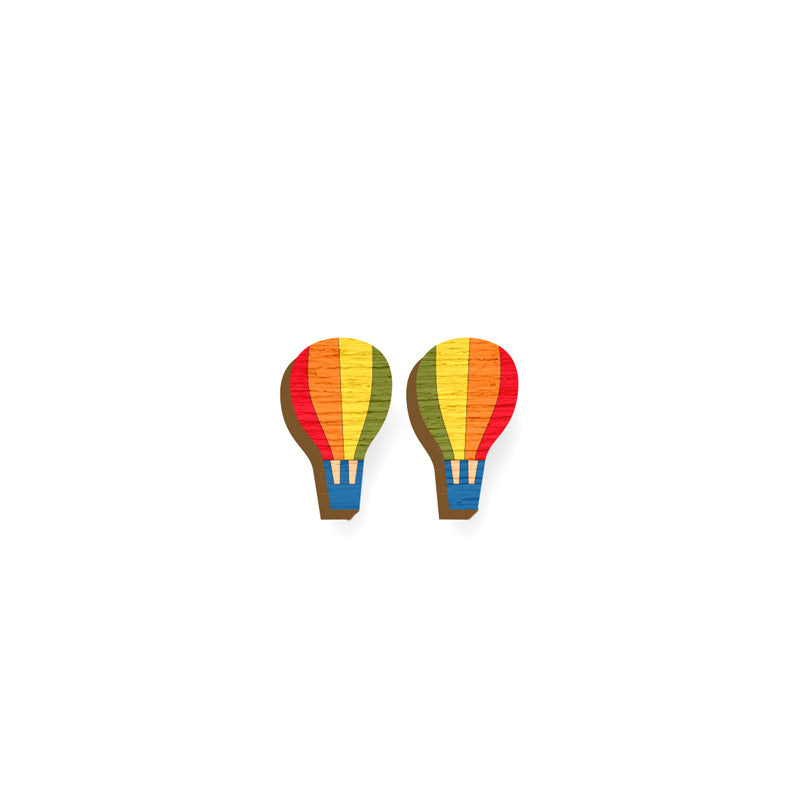 Hot Air Balloon Earrings - hand painted pin