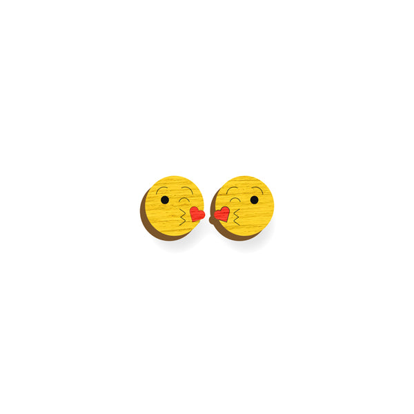 Kiss emoji Earrings - hand painted pin