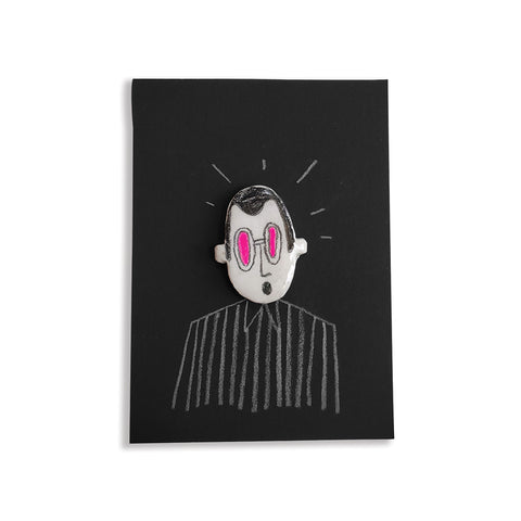 Man Pink Glass - hand painted pin
