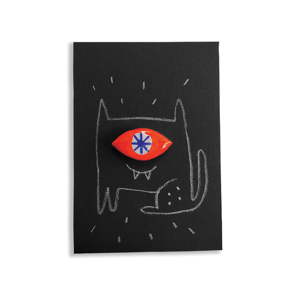 Orange Eye Cat - hand painted pin