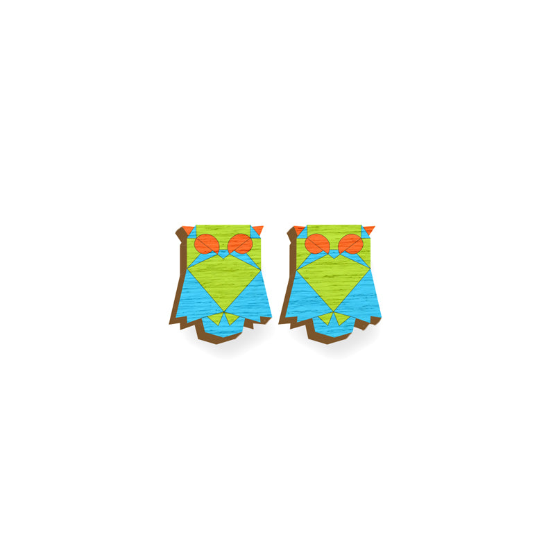 Owl Earrings - hand painted pin