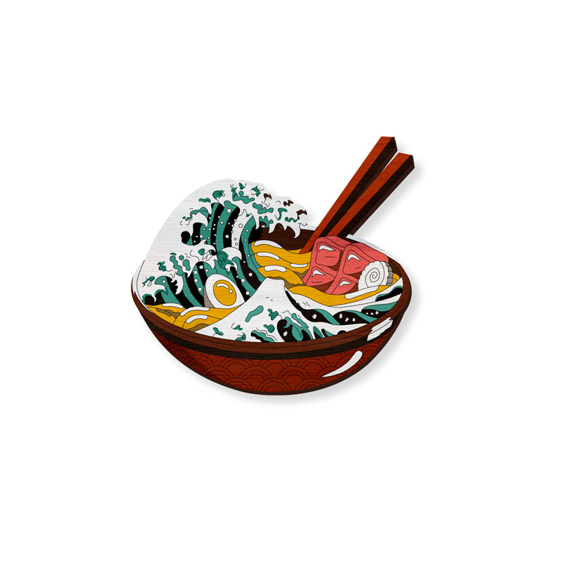 The Great Ramen Wave - hand painted pin