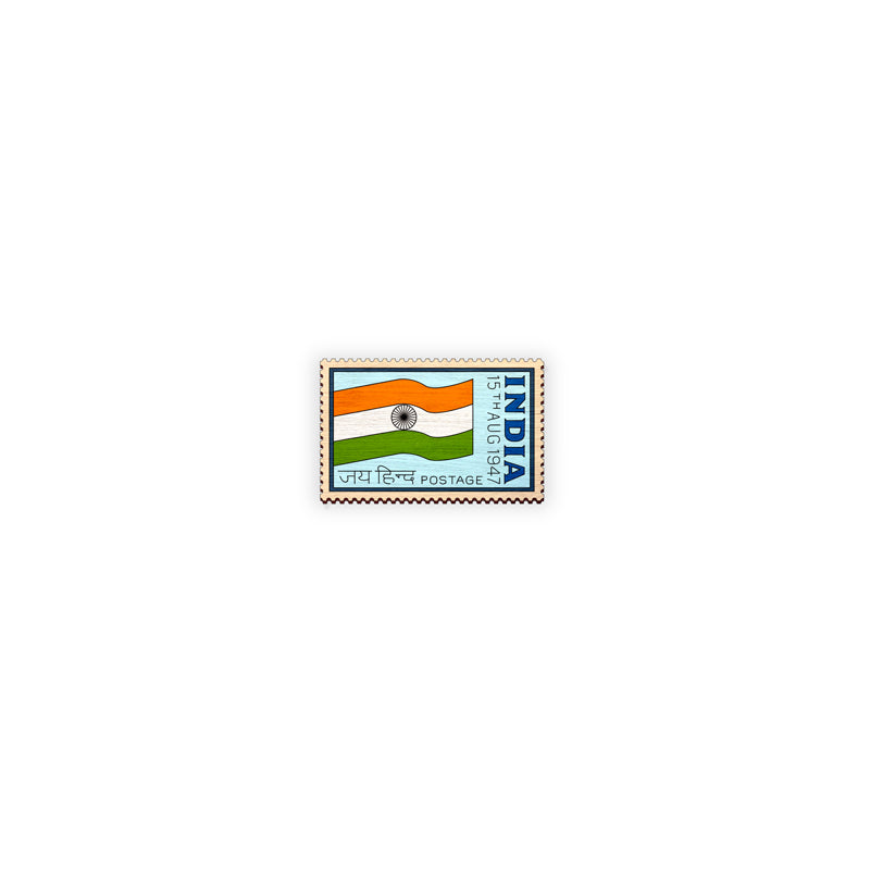 Indian Stamp 1  hand painted wooden lapel pin