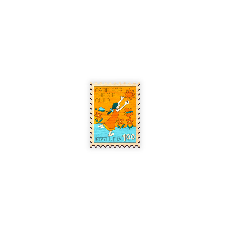 Indian Stamp - 3 - hand painted wooden lapel pin