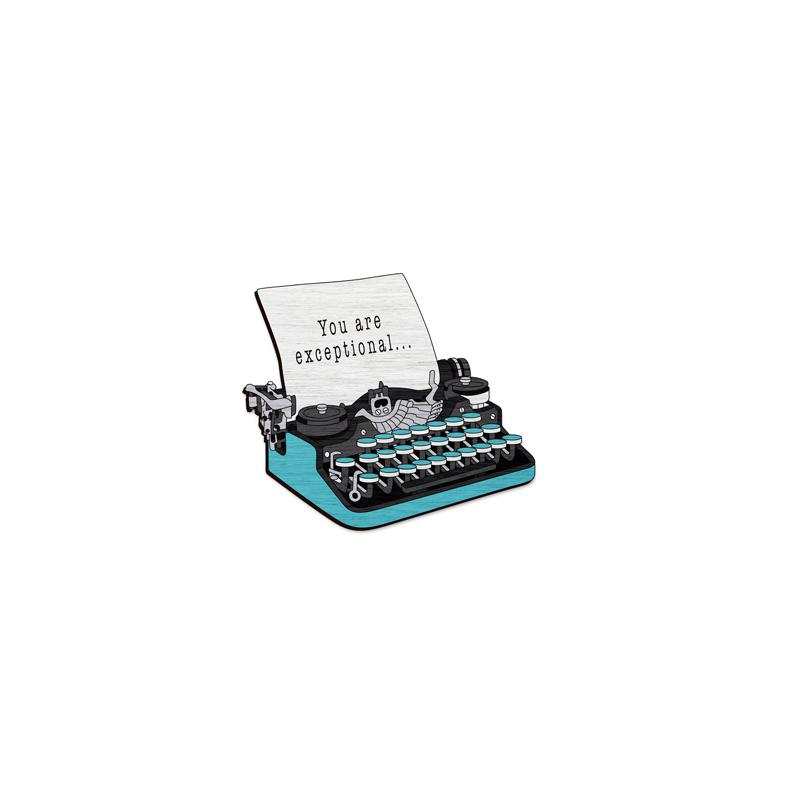 Typewriter - hand painted pin
