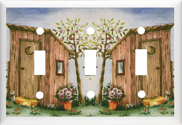 BB OUTHOUSE BIRDHOUSE & FLOWERS BATH DECOR LIGHT SWITCH OR OUTLET COVER Home Improvement- Got You Covered WV