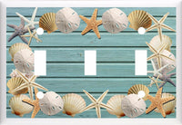 Seashells ON Beach Blue Wood Image Light Switch Cover Plate OR Outlet V803 Beach & Palm Trees- Got You Covered WV