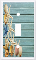 SEASHELLS STARFISH ON BLUE BEACH WOOD IMAGE LIGHT SWITCH COVER PLATE OR OUTLET Beach Themed Light Switch Cover- Got You Covered WV