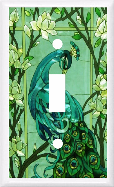 PEACOCK GREEN STAINED GLASS IMAGE LIGHT SWITCH COVER PLATE OR OUTLET Home Improvement- Got You Covered WV