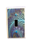 GOT YOU COVERED COLORFUL FEATHERS LIKE PEACOCK BLUE TONES LIGHT SWITCH OR OUTLET COVER