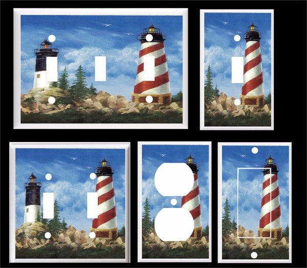 LIGHTHOUSE NAUTICAL SEAGULLS LIGHT SWITCH COVER PLATE Beach Themed Light Switch Cover- Got You Covered WV