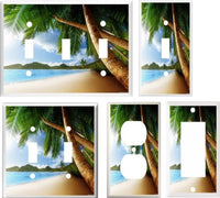 TROPICAL PALM TREE PARADISE BEACH 2 IMAGE LIGHT SWITCH COVER Beach & Palm Trees- Got You Covered WV