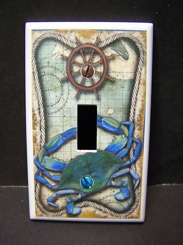 NAUTICAL BLUE CRAB LIGHT SWITCH COVER PLATE OR OUTLET COVER Beach Themed Light Switch Cover- Got You Covered WV